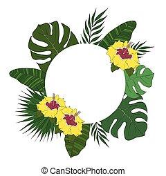 banner., ułożyć, drzewo, leaves., okrągły, tropikalny, dłoń, albo, karta