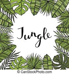 banner., ułożyć, drzewo, leaves., tropikalny, dłoń, albo, karta