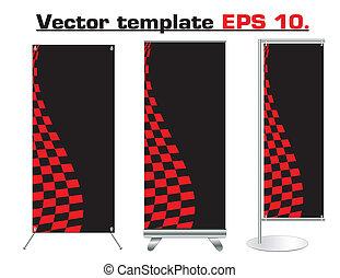 banner, vektor, konstruktion, rulle