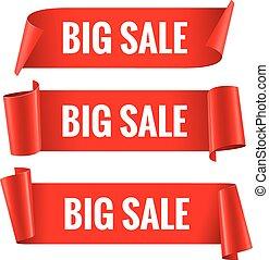 banner., venda, realístico, papel, lustroso, fita, vermelho