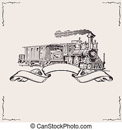 banner., vendange, vecteur, illustration., locomotive