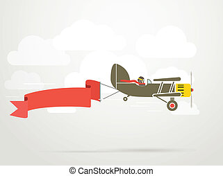 banner., vendange, voler, avion, gabarit, texte