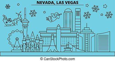 banner, vereint, glücklich, las vegas, weihnachten, weihnachten, vektor, dekoriert, wohnung, jahreswechsel, las, skyline., stadt, staaten, claus., fröhlich, winter, abbildung, santa, linear, feiertage