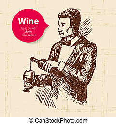 banner., vin, illustration, bakgrund, skiss, årgång, hand, ...