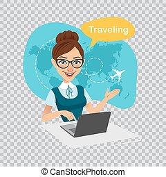 banner., voyage, transparent, illustration, world., laptop., agence, travaux, arrière-plan., voyage, agent