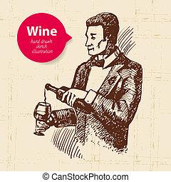 banner., wino, ilustracja, tło, rys, rocznik wina, ręka, ...