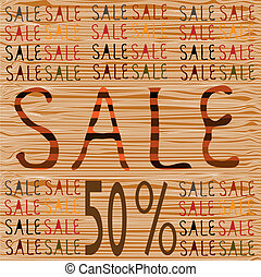 Banner with 50% SALE text tree texture background, vector illustration.