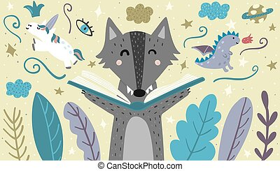 Banner with a cute wolf reading a fairytale
