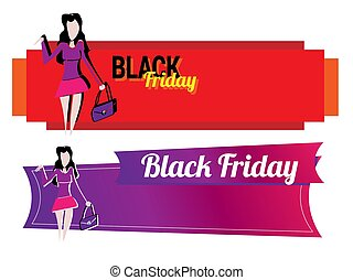 Banner with a girl going shopping. Contrast ornament with glamorous fashion decorative symbols and elements.