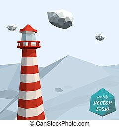 Banner with a lighthouse in the sea