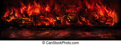 Banner with a medieval town aflame