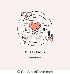 Banner with act charity symbols