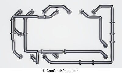 Banner with an empty space in the middle is entangled in pipes