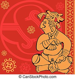 Banner with ancient American ornaments - Vector of banner...