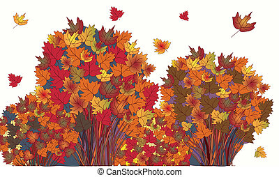 Banner with autumn maple trees and leaves