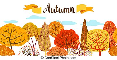Banner with autumn stylized trees.