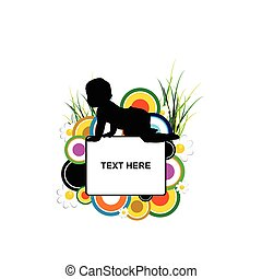 banner with baby silhouette in flower illustration