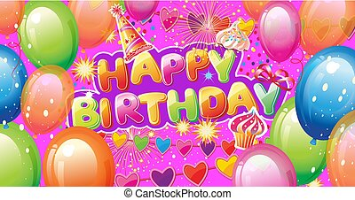 Banner with Birthday Party Elements