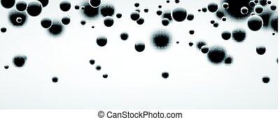 Banner with black 3d bubbles.
