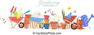 banner with border of colorful gardening tools for your design