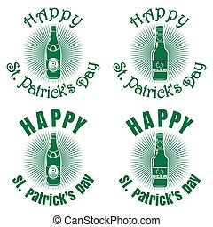 Banner with bottles of beer for St. Patricks Day
