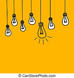 idea of business insight - Banner with bulb lamps, symbol of...
