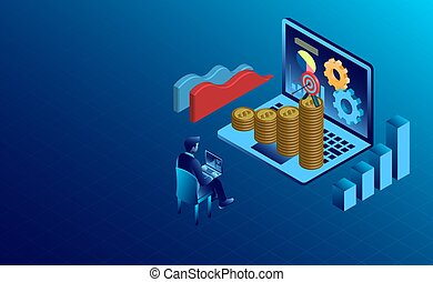 banner with business finance success concept. digital marketing. isometric. illustration cartoon vector