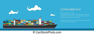 Banner with Cargo Container Ship
