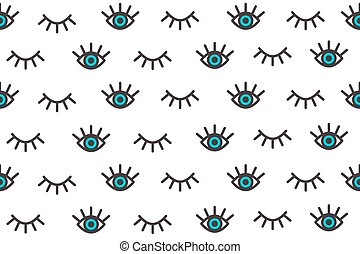 Eyelash - Banner with cartoon eyes in style of pop art. ...