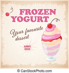 banner with  cherry frozen yogurt