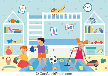 Banner with children cleaning dirty kids play room a vector illustration