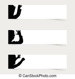 banner with children happy silhouette set illustration