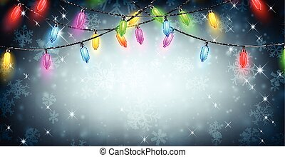 Banner with Christmas lights and snow.