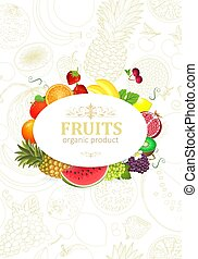 banner with circle frame of fresh fruits and berries for your de