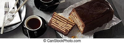 Banner with coffee and chocolate cake