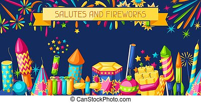 Banner with colorful fireworks. Different types of...