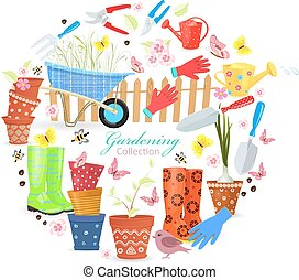 banner with colorful gardening tools and equipments for your des