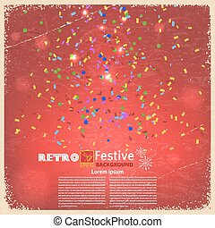 Banner with confetti and streamers on a red background. Vector i