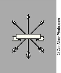 Banner with crossed arrows vector design.