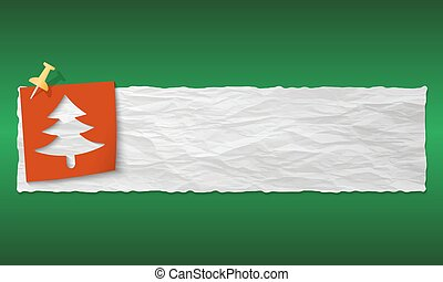 banner with crumpled paper and tree