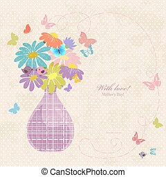 banner with cute vase of daisies on a old paper for your design.