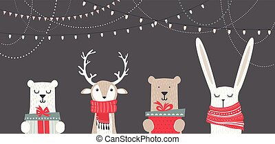 banner with cute winter animals with presents and scarfs....