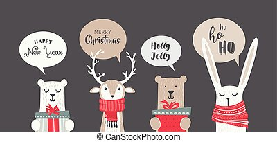banner with cute winter animals with presents,scarfs and seasonal greetings. merry chritmas and happy new year. vector illustration