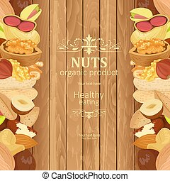 banner with delicious nuts on wooden background for your design
