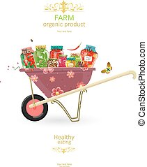 banner with delicious pickled foods on cute garden cart for...