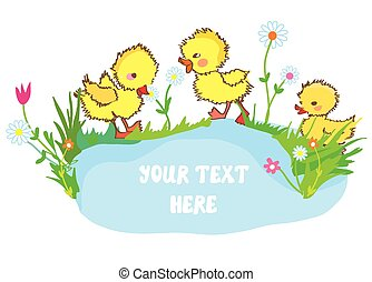 Banner with ducks, pond and flowers - for kindergarten
