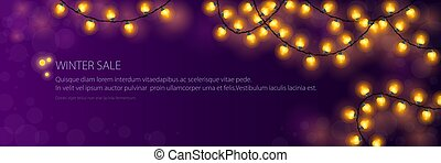 Banner with festive gold glowing garlands