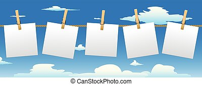 Banner with five paper notes. - Banner with five paper notes...