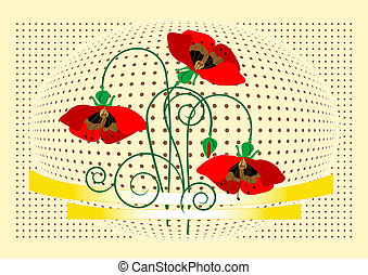 Banner with flover poppy