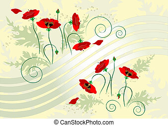 Banner with flover poppy - Flowers poppy on a light yellow...